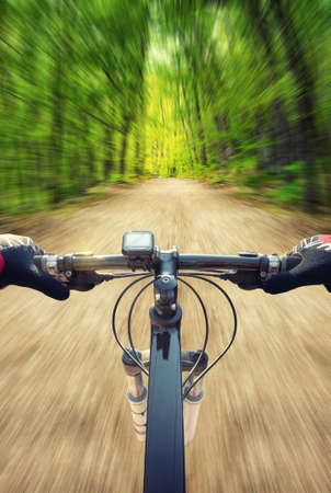 summer sport: Ride on bicycle on road in summer forest. Sport and active life concept Stock Photo