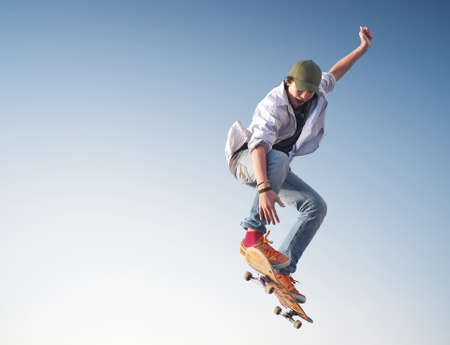 active life: Skater on the sky background. Sport and active life concept