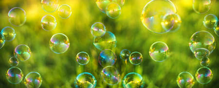 Air bubbles on grass background. Abstract background