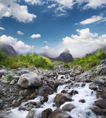 Mountain valley in the summer time. Beautiful summer landscape