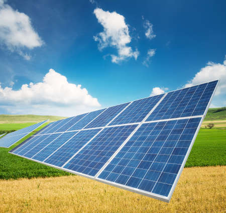 Solar panel on the field. Ecological energy concept and idea
