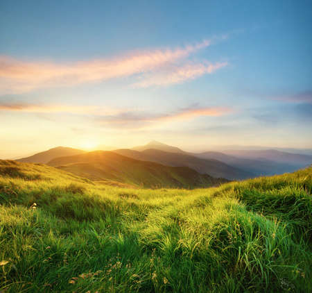 Mountain landscape during sunrise. Natural landscape in the summer time Stock Photo - 76921733