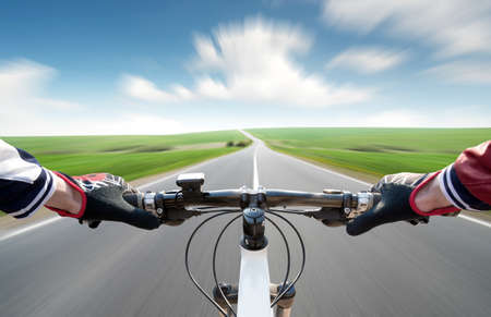 Ride on bycycle on road. Sport and active life concept Stok Fotoğraf