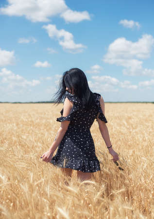 Girl on the field. Concept and idea of beauty people