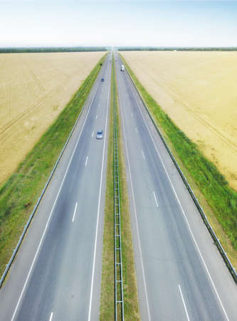 Long road line as a backrgound. Concept and idea from drone Stok Fotoğraf