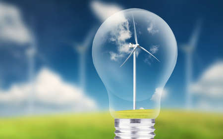 Wind power station in lamp. Ecological energy concept Stock Photo
