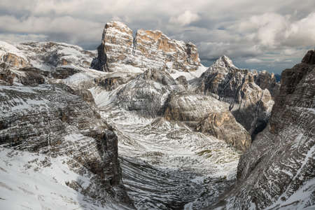 High mountains ridge in the Alps. Beautiful natural landscape in the winter time