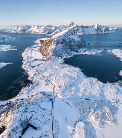 Panorama of mountains and sea. Beautiful natural aerial landscape in the Norway Stock Photo