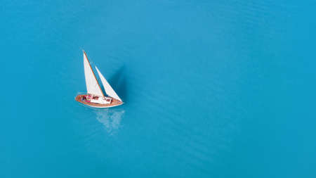 Aerial view at the yacht. Beautiful concept and idea of travel at the summer time Stock Photo