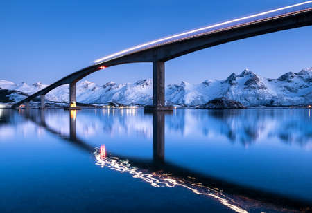 Bridge and reflection on the water surface.