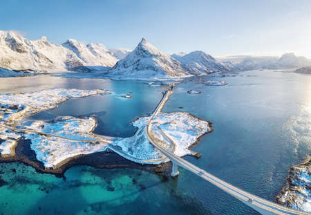 Aerial view on the Lofoten islands, Norway. Natural landscape from drone. Aerial landscape from air in the Norway Stock fotó
