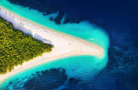 Croatia, Hvar island, Bol. Panoramic aerial view at the Zlatni Rat. Beach and sea from air. Famous place in Croatia. Summer seascape from drone. Travel - image 版權商用圖片