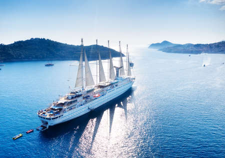Croatia. Aerial view at the cruise ship with sail at the day time. Adventure and travel.  Landscape with cruise liner on Adriatic sea. Luxury cruise. Travel - image 스톡 콘텐츠