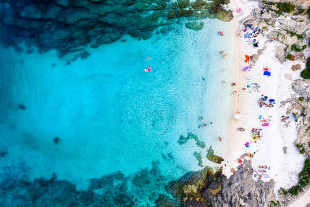 Aerial view on the beach and azure sea. Beach and sea from air. Place for resting. Summer seascape from drone. Croatia landscape. Travel - image