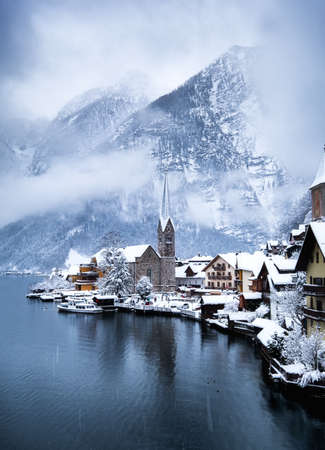 Hallstat village in the Austria. Beautiful village in the mountain valley near lake. Mountains landscape and old town. Travel - Austria