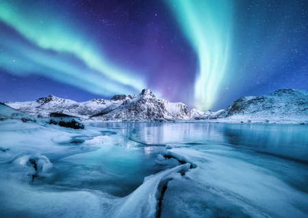 Aurora Borealis, Lofoten, Norwegen. Nichts Licht, Berge und gefrorenes Meer. Winterlandschaft zur Nachtzeit. Norwegen reisen - Bild