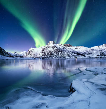 Aurora Borealis, Lofoten islands, Norway. Nothen light, mountains and frozen ocean. Winter landscape at the night time. Norway travel - image Banco de Imagens