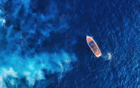 Croatia. Aerial view of luxury floating boat on blue Adriatic sea at sunny day. Yachts at the sea surface. Travel - image Banco de Imagens
