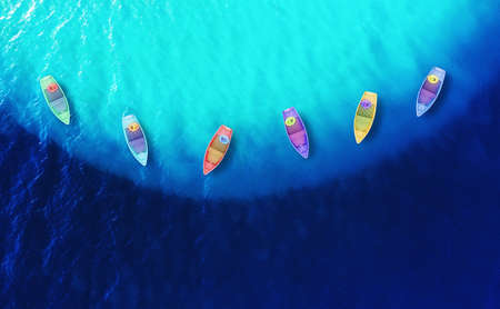 Boats from air. Summer seascape with azure water in sunny day. Top view on boats from drone. Travel - image Banco de Imagens