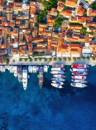 Dubrovnik, Croatia. Aerial landscape. Town and sea. Top view from drone on the old castle and azure sea. Travel - image