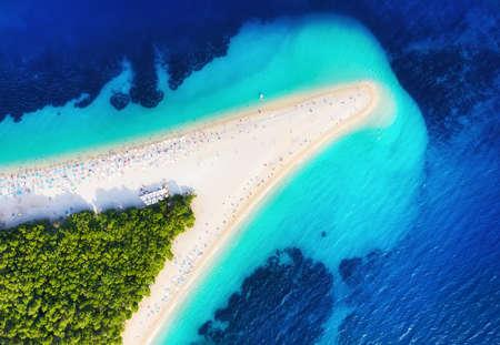 Croatia, Hvar island, Bol. Famous beach in Croatia. Aerial view on the Zlatni Rat. Summer seascape background from drone. Travel - image