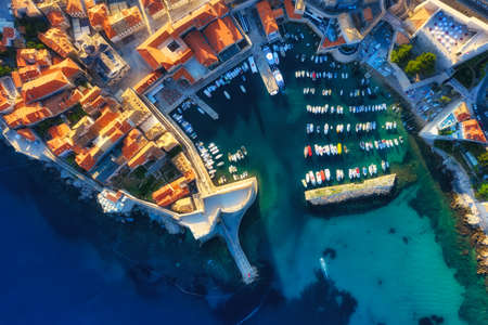 Dubrovnik, Croatia. Aerial view on the old town. Vacation and adventure. Town and sea. Top view from drone at on the old castle and azure sea. Travel - image Banco de Imagens