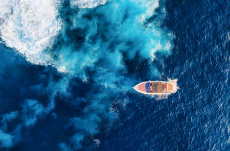 Croatia. Aerial view of luxury floating boat on blue Adriatic sea at sunny day. Yachts on the sea surface. Travel - image