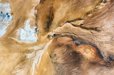 Aerial view on the Iceland. Aerial landscape above geysers valley. Icelandic landscape from air. Famous place. Travel - image Banco de Imagens