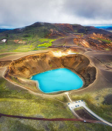 Aerial view on the Iceland. Aerial landscape above lake in the geysers valley. Icelandic landscape from air. Famous place. Travel - image