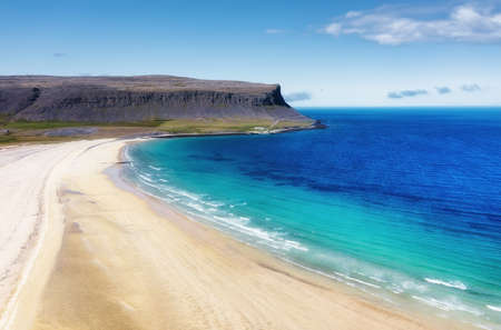Iceland. Aerial view on the coastline and ocean. Landscape in the Iceland at the day time. Famous place in Iceland. Landscape from drone. Travel - image
