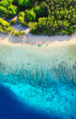 Beach and ocean as a background from air. Azure water background from top view. Summer seascape from drone. Gili Meno island, Indonesia. Travel - image Reklamní fotografie