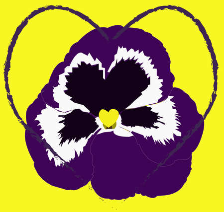 Violet flower and heart Ilustrace