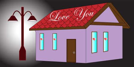 love you on the rooftop, black background Ilustração