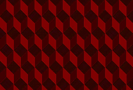 Vector seamless ornament pattern with lines. Modern stylish texture. Repeating geometric tiles with cubes. Cubic red and black pattern.