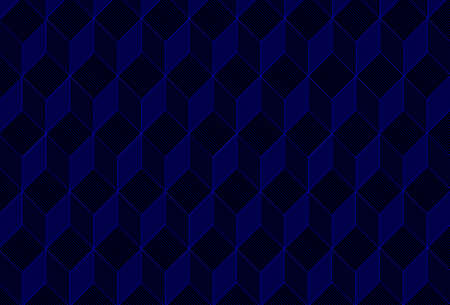 Vector seamless ornament pattern with lines. Modern stylish texture. Repeating geometric tiles with cubes. Cubic blue and black pattern.