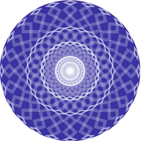 Decorative ornate geometric pattern with white lines on blue background. Ornamental abstract design.Geometric round ornament. Vector, circle illustration pattern. Иллюстрация