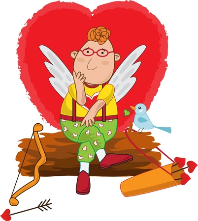 waits: Cupid waits for love, A vector illustration of a cute cupid sitting on a log and thinking