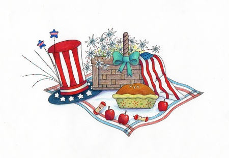 4th of July Picnic - An illustration of a 4th of July picnic, made with markers and colored pencils  Stock Photo