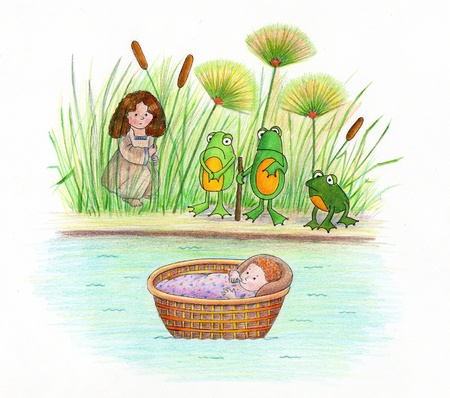 Baby Moses and The Frogs - An illustration of baby Moses in a basket on the Nile River  His sister and the frogs are watching over him  Made with markers and colored pencils