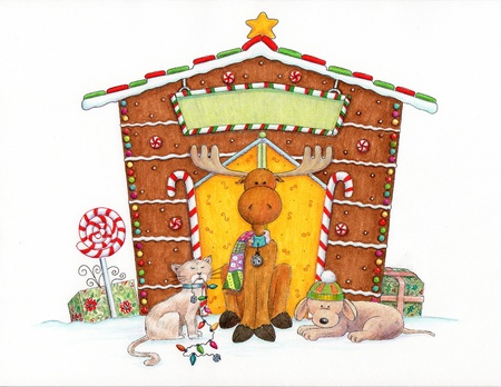 gingerbread: Christmas Moose and Friends - An illustration of a cute moose, cat and dog sitting in front of a gingerbread house  Stock Photo