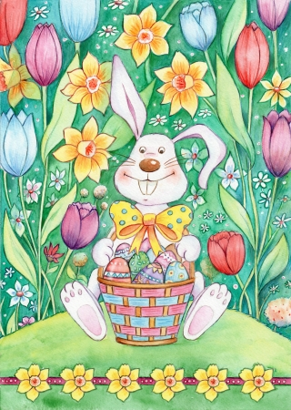 Easter Bunny With Basket - Watercolor illustration of an Easter bunny sitting in a field of tulips holding a basket full of Easter eggs Stok Fotoğraf