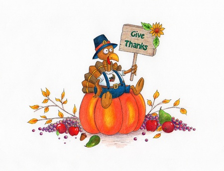 Give Thanks Turkey - Thanksgiving cartoon turkey sitting on a pumpkin  made with markers and colored pencils