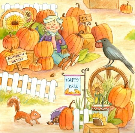 pumpkin patch: Pumpkin Patch - Watercolor illustration of a pumpkin patch