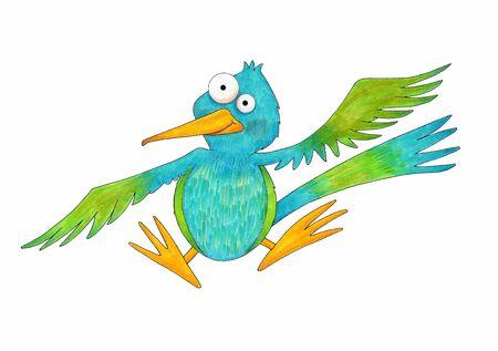 Cute Cartoon Hummingbird - An illustration of a cute cartoon hummingbird  made with markers and colored pencils  Banco de Imagens