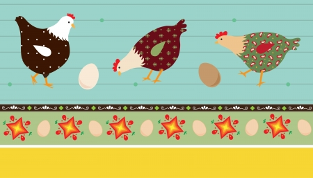 Folk Art Chickens - A vector illustration of stylized chickens and decorative elements Ilustração