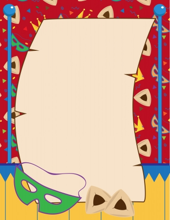 Purim Invitation - A illustration of a blank scroll, mask and Hamantachen on a decorative background