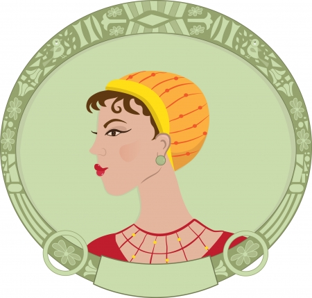 elliptic: Art Deco Woman - Vector illustration of an art deco styled woman portrait, surrounded by a decorative elliptic frame. Eps 10 Illustration