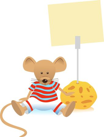 Mouse and Note Holder - illustration of a cute mouse with a note holder.