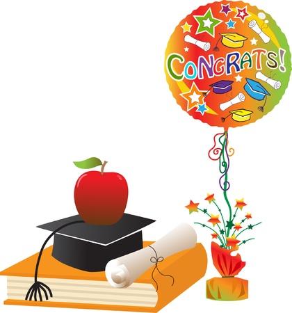 graduation hat: Graduation Celebration - illustration of a book, diploma, apple, graduation hat and balloon.