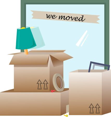 We Moved - illustration of open boxes with items inside and around them.  Ilustrace